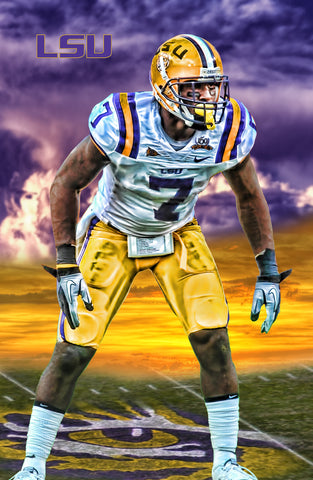 LSU Tigers Patrick Peterson Sunset 18x24 Signed Poster
