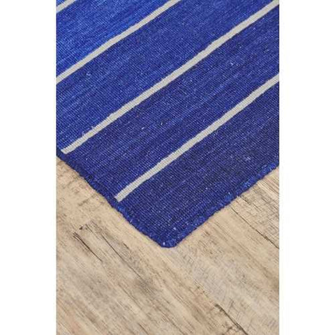 Striped Hand-Tufted Wool Cotton Blue 5x8 Area Rug