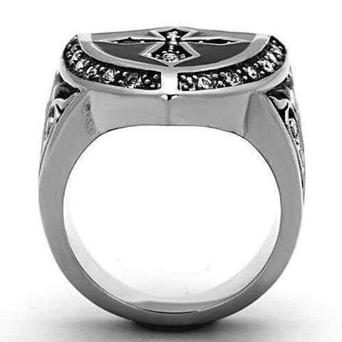 Men's Stainless Steel Crystal Clear Polished Ring