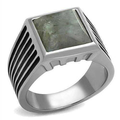 TK3113 - Stainless Steel Ring High polished (no plating) Men Synthetic Gray