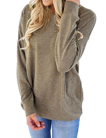 Womens  Solid Color Front Pocket Casual Pullover