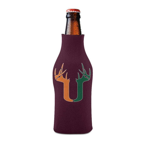 U Antler Bottle Koozie Bottle Sleeve - Maroon - Drinkware