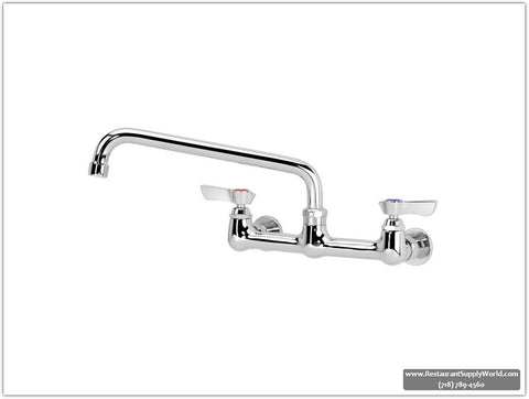 "14"" Swing Spout, Wall Mount 8in-Spread Commercial Faucet"