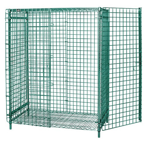 "QUANTUM Stationary Security Cage Unit, 63"" High, 800lbs, NSF, Chrome/Epoxy"