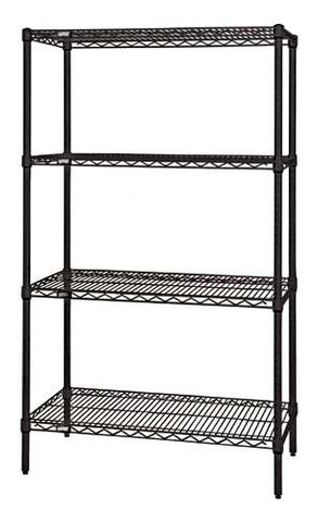 "QUANTUM H/D 74""H 4-Shelf Wire Shelving Kit, 800lb, WR74, NSF, BLACK EPOXY, 15yr"