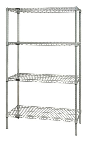 "QUANTUM H/D 63""H 4-Shelf Wire Shelving Kit, 800lb, WR63, NSF, CHROME, 1yr"