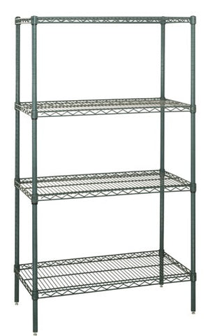 "QUANTUM H/D 74""H 4-Shelf Wire Shelving Kit, 800lb, WR74, NSF, GREEN EPOXY, 15yr"