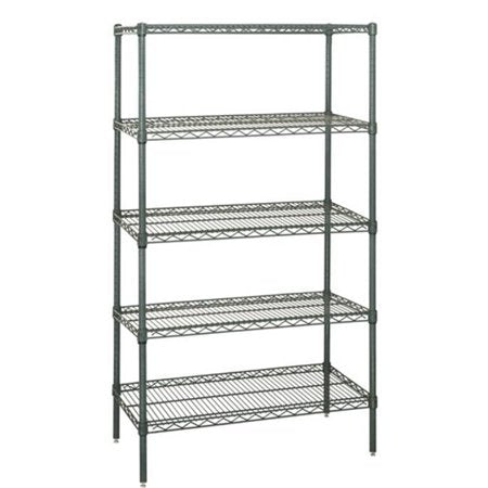 "QUANTUM H/D 74""H 5-Shelf Wire Shelving Kit, 800lb, WR74, NSF, GREEN EPOXY, 15yr"
