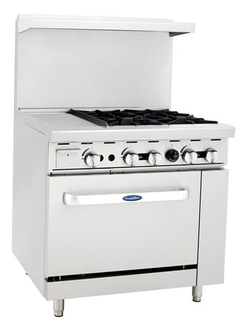 "ATOSA Range: 36-in Gas Range 4-Burner/12"" Left Grid/26"" Oven - ATO-12G4B"