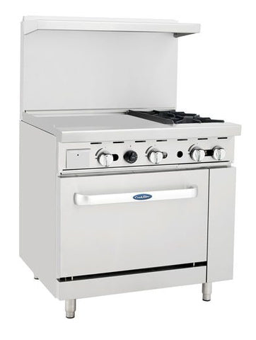 "ATOSA 36"" Gas Range 2-Burner/24"" Left Griddle/26"" Oven - ATO-24G2B"