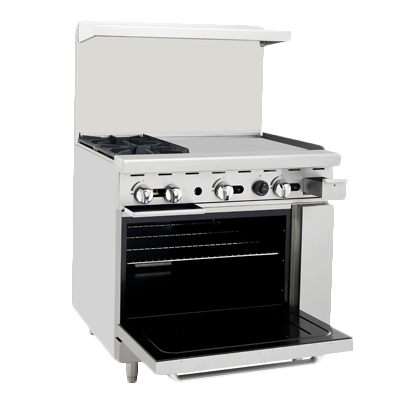"ATOSA Range: 36-in Gas Range 2-Burner/24"" Right Griddle - ATO-2B24G"