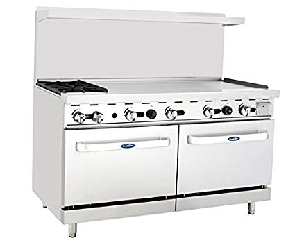 "ATOSA Range: 60-in Gas Range 2-Burner/48"" Rt Griddle - ATO-2B48G"