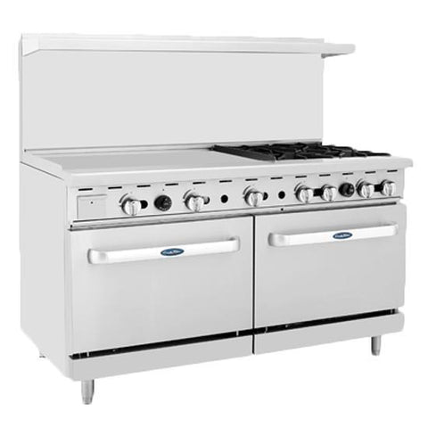 "ATOSA Range: 60-in Gas Range 4-Burner/36"" Lt Griddle - ATO-36G4B"