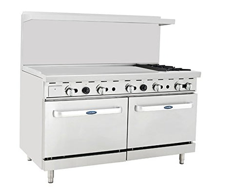 "ATOSA Range: 60-in Gas Range 2-Burner/48"" Lt Griddle - ATO-48G2B"