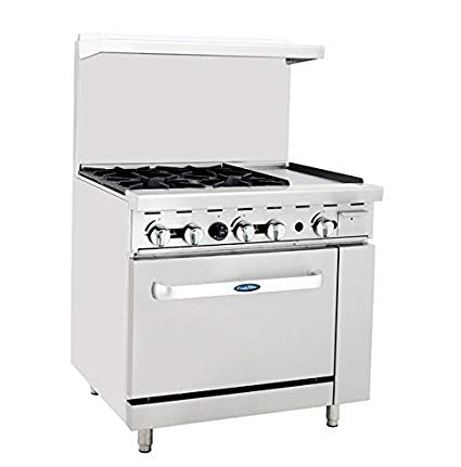 "ATOSA Range: 36-in Gas Range 4-Burner/12"" Right Griddle - ATO-4B12G"