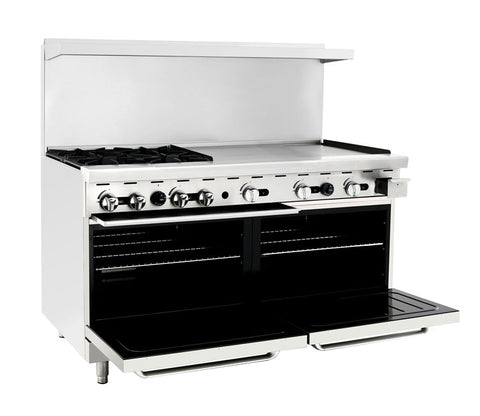 "ATOSA Range: 60-in Gas Range 4-Burner/36"" Rt Griddle - ATO-4B36G"