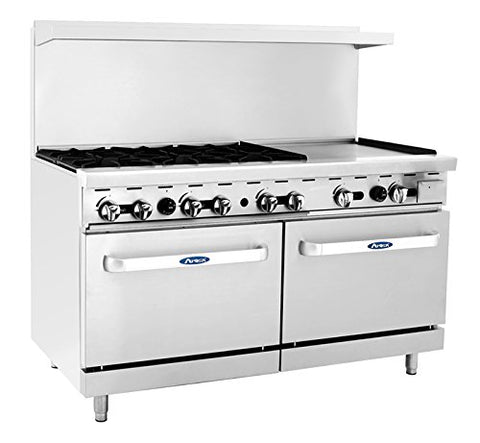 "ATOSA Range: 60-in Gas Range 6-Burner/24"" Rt Griddle - ATO-6B24G"