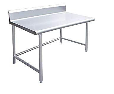 Stainless Steel Work/Prep Table w/Adj. Galv Crossbar & Back Splash