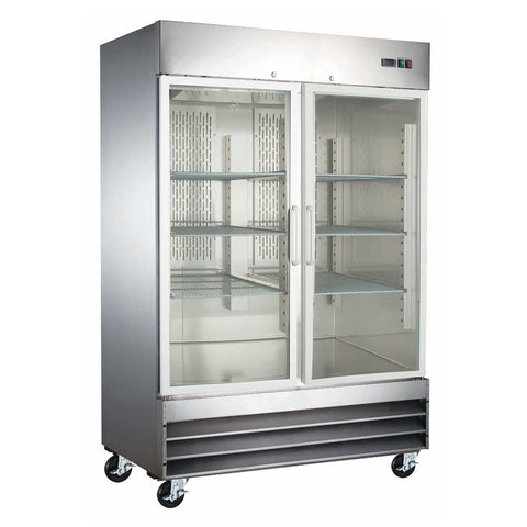 "Coldline CFD-2RR-G-HC 54"" Double Glass Door Reach-In Refrigerator, Stainless Steel"