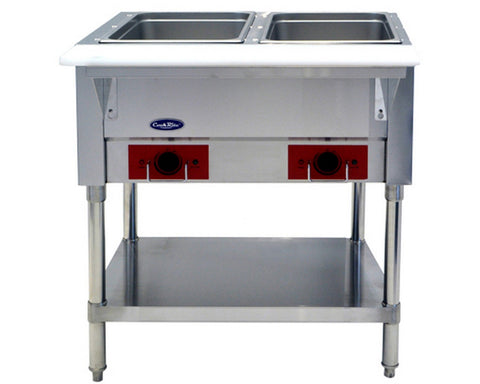 "ATOSA 36"" Electric 2-Well Dry Steam Table, 1000W/120V - CSTEA-2B"