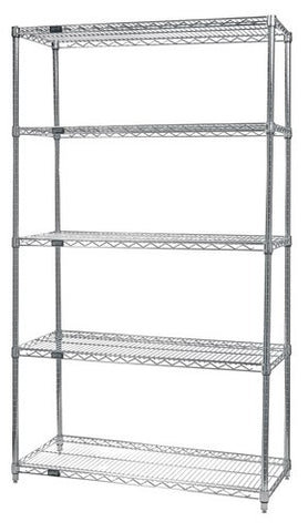 "QUANTUM H/D 63""H 5-Shelf Wire Shelving Kit, 800lb, WR63, NSF, CHROME, 1yr"