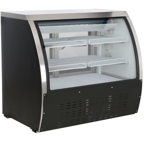 Coldline DC120B-HC 48 Curved Glass Refrigerated Deli Display Case, Black Finish