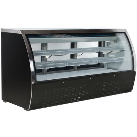 "Coldline DC200B-HC 80"" Curved Glass Refrigerated Deli Display Case, Black Finish"