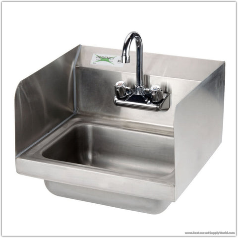 "16"" Commercial Stainless Steel Hand Sink w/Side Splashes"