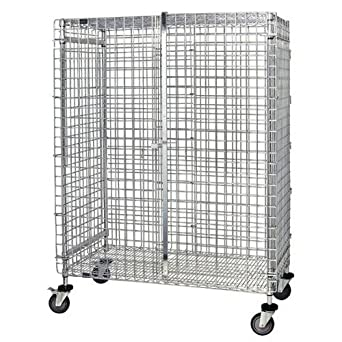 "QUANTUM Caster Security Cage Unit, 69"" High, 800lbs, NSF, Chrome/Epoxy"