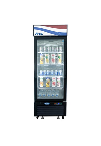 ATOSA Btm Mount 1 Glass Door Black Refrigerator, 11cuFt MCF8725GR
