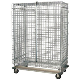 "QUANTUM Dolly Security Cage Unit, 70"" High, 800lbs, NSF, Chrome/Epoxy"
