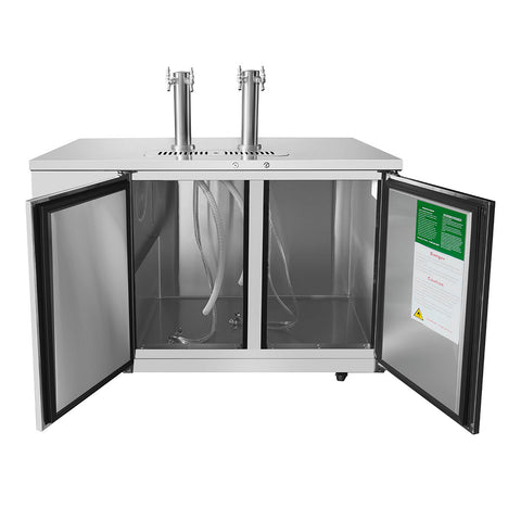 "ATOSA 58"" Keg Cooler, All SS, Dual Faucet Tower, 58""x28""x40"" MKC58"