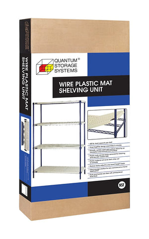 QUANTUM Wire Plastic Mat 4-Shelf Unit, Single Box, 600lb, LIFETIME WARRANTY