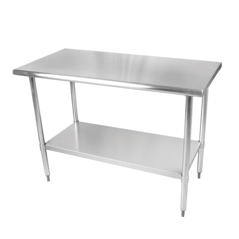 Stainless Steel Kitchen Work/Prep Tables w/Galvanized Under Shelf, Bull-Nose
