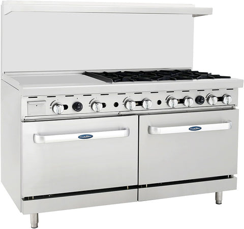 "ATOSA Range: 60-in Gas Range 6-Burner/24"" Lt Griddle - ATO-24G6B"