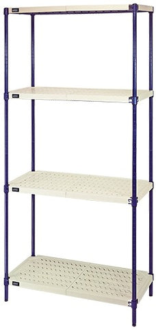 "QUANTUM  72""H 4-Shelf Wire Plastic Mat Shelf Kit, 600lb, NSF"