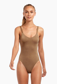 Bronze Metallic Low Cut Back One-Piece Bathing Suit