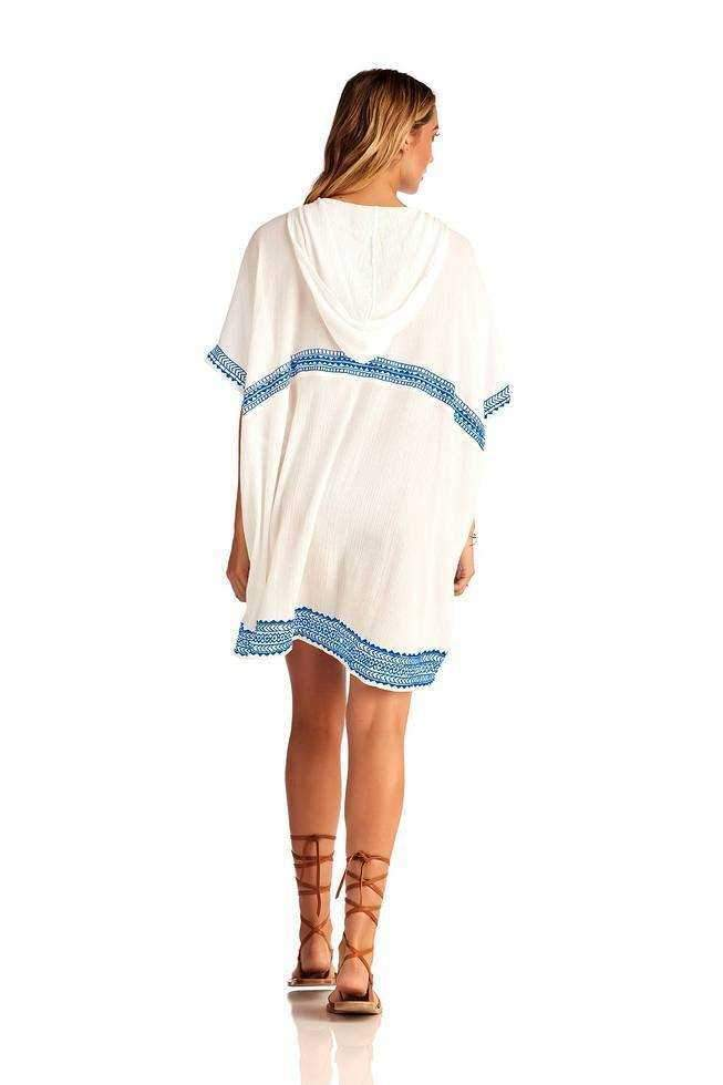 Isabell Short Caftan - Trade Winds Embroidered Gauze