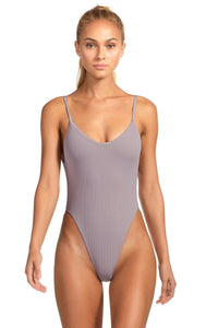 Dusty Purple Ribbed One-Piece Bathing Suit with Teeny Coverage and Low Cut Back