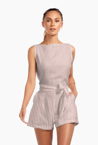 Martinique Romper - EcoLinen Stripes Perla Rosa | Vitamin A