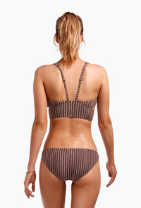 Luciana Full Coverage Bottom - Cigar Stripe