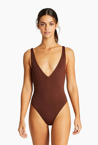 Brown Plunging One Piece Front