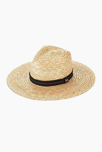Hand Woven Straw Fedora with Black Band