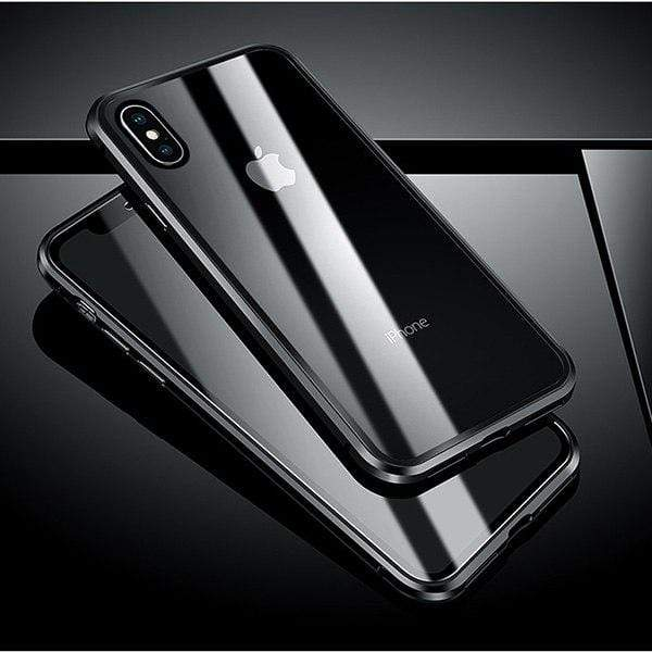 iPhone Magnetic Metal Case With Tempered Glass