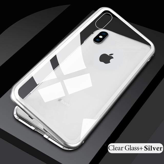 NextGen Magnetic Metal Case With Tempered Glass For Iphone