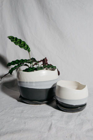 Charcoal & Alabaster Wave Planter | Medium