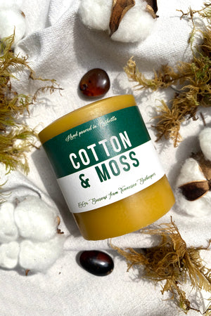 Cotton Moss Amber Beeswax Candle