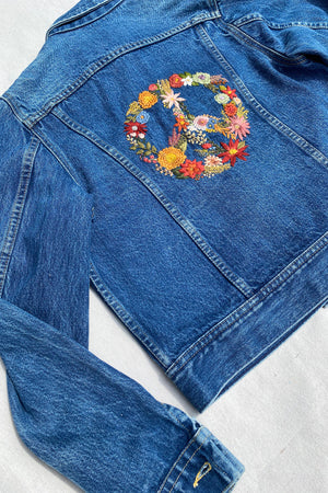 Vintage Peace Sign Denim Jacket
