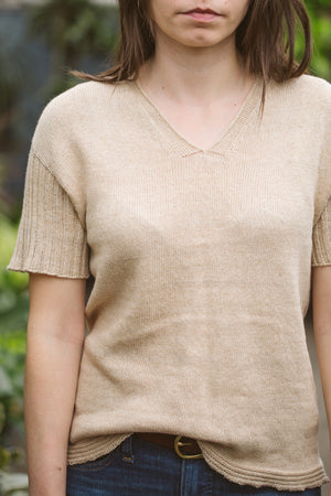 Organic Cotton Knit V Neck Tee