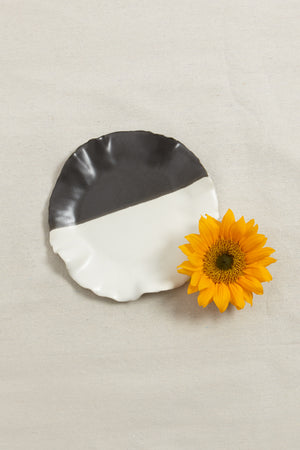 Black and White Candle Plate | Handmade